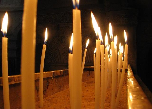 Candles church burning, religion.