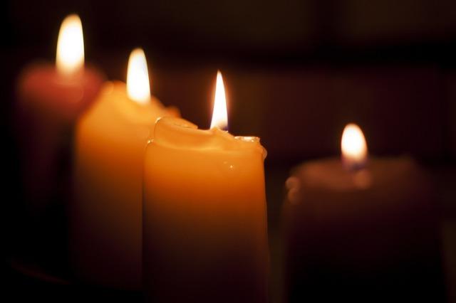 Candles dark flame.