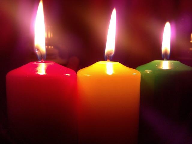 Candles fire light.