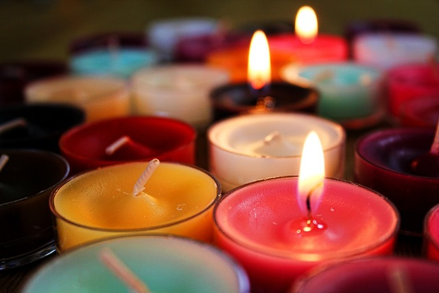 Candles flame colorful.