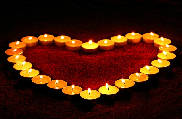 Candles heart flame, emotions.