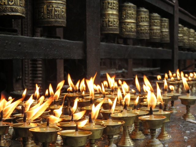 Candles offering temple, religion.