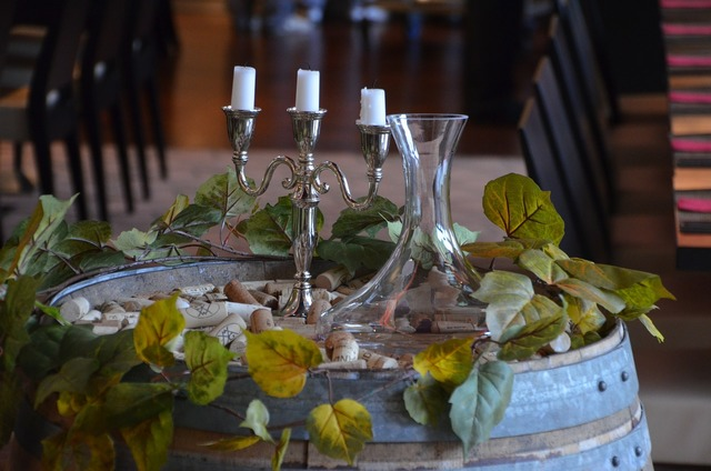 Candlestick wine romantic.