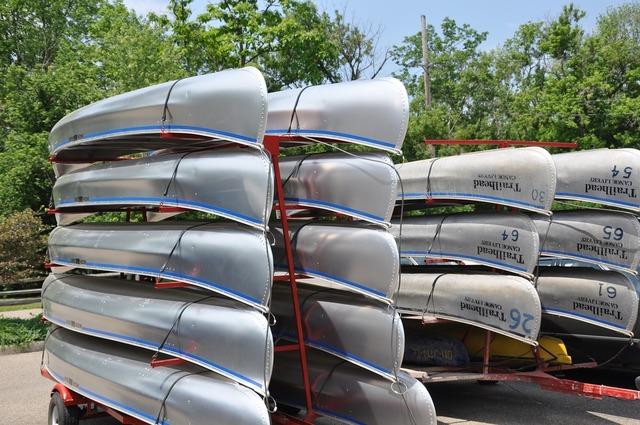 Canoes boats boating.