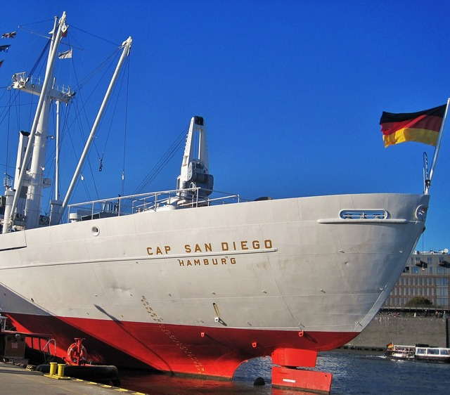 Cap san diego ship rear hamburg museum ship.