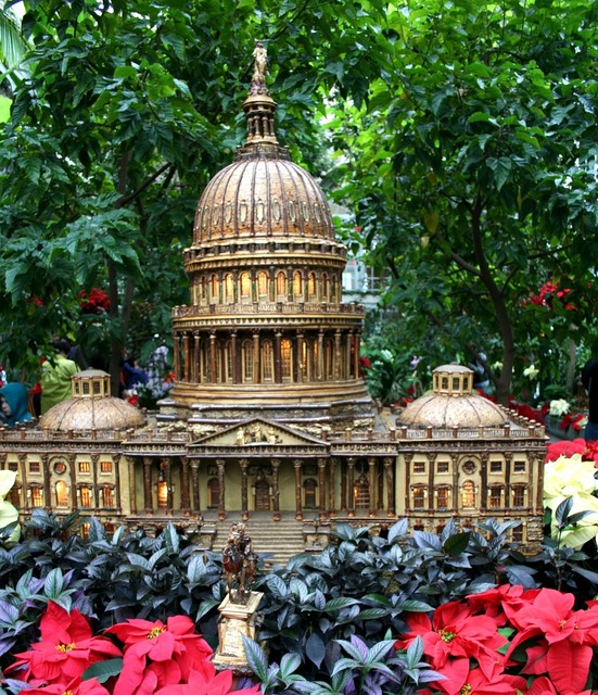 Capitol building model holiday garden.