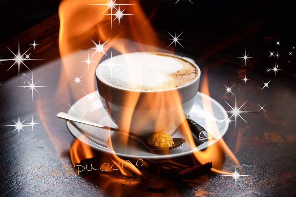 Cappuccino flame fire, food drink.