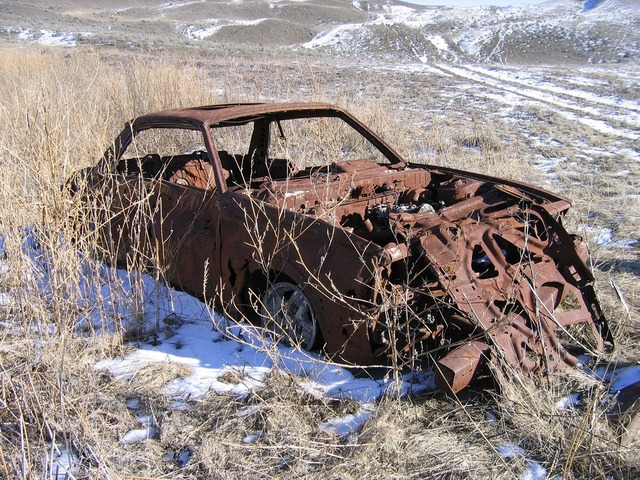 Car abandoned rusted, transportation traffic.