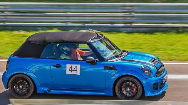 Car blue car mini cooper, transportation traffic.