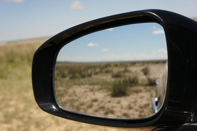 Car mirror lens views.