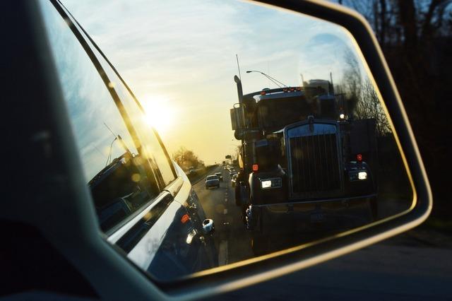 Car mirror truck, transportation traffic.