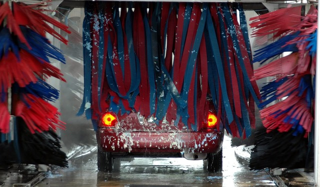 Car wash motion brushes, business finance.