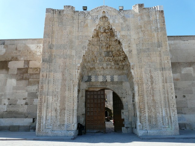 Caravanserai sultanhan caravansary decorated portal, architecture buildings.
