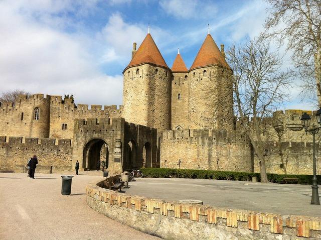 Carcassone castle france, places monuments.