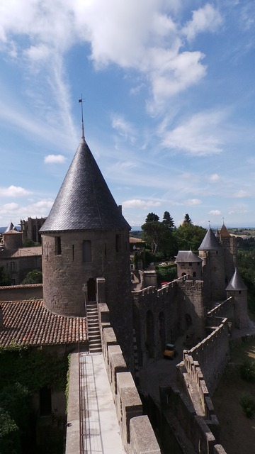 Carcassonne castle france, architecture buildings.
