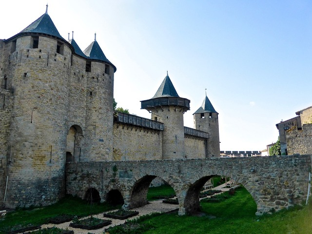 Carcassonne defence wall, architecture buildings.