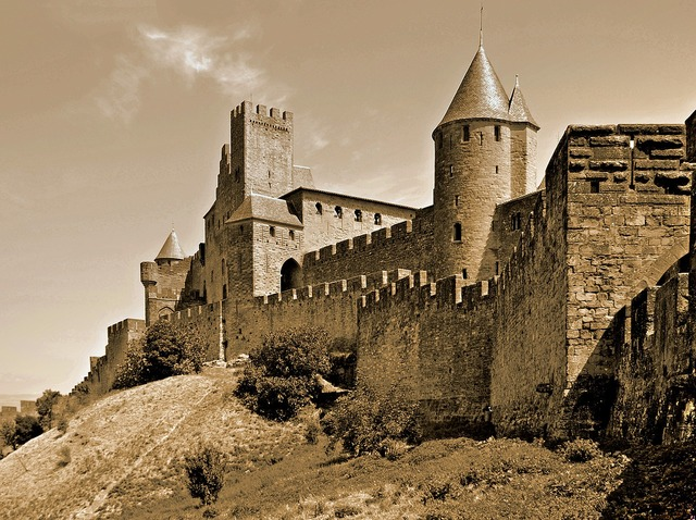 Carcassonne france the city walls.