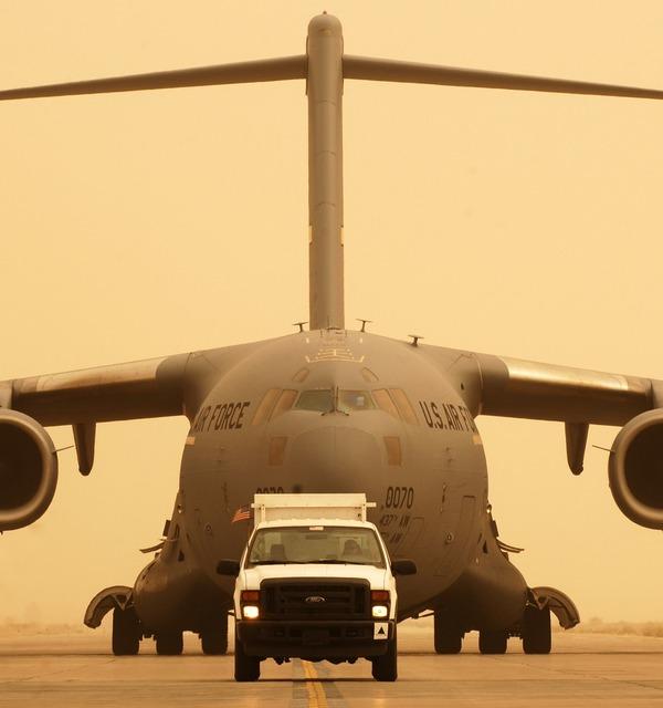 Cargo air force plane, transportation traffic.