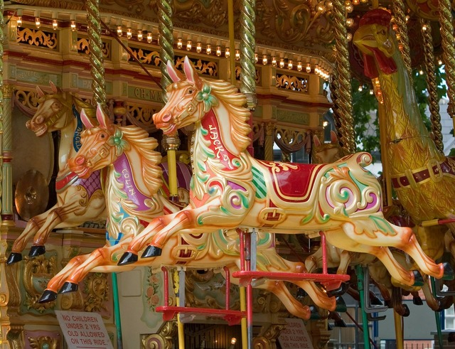Carousel horse horses.