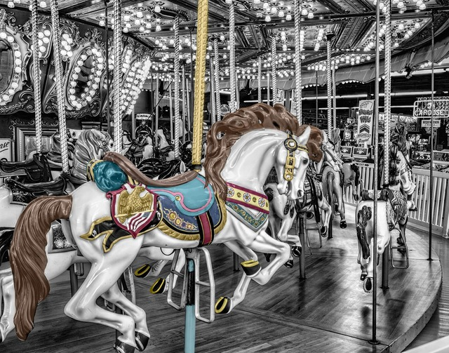 Carousel merry-go-round roundabout.