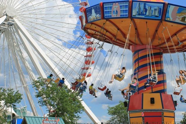 Carousel rides park.