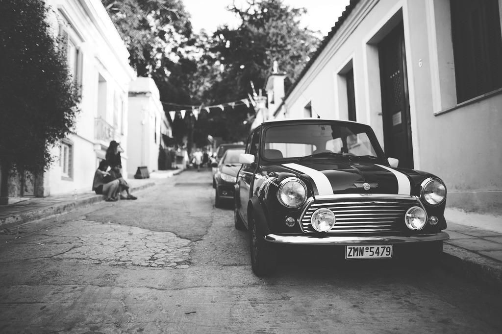 Cars classic mini cooper, people.