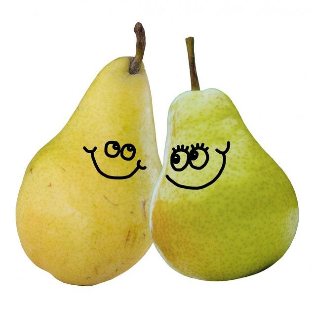Cartoon pear pears, food drink.