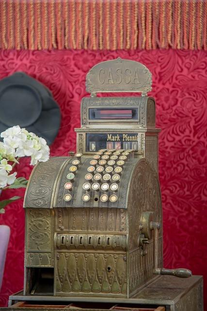 Cash machines checkout retro.