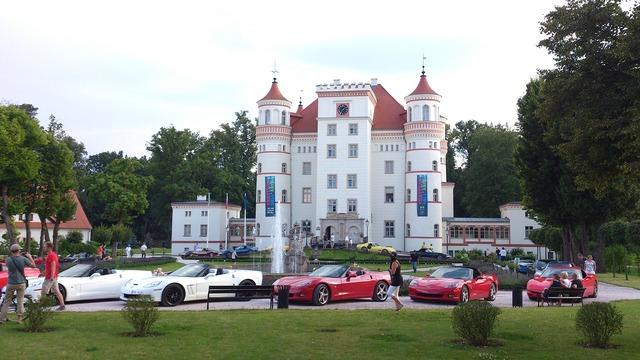 Castle atmosphere car meeting, architecture buildings.