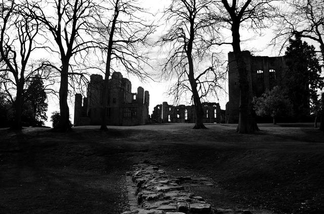 Castle dark night, architecture buildings.