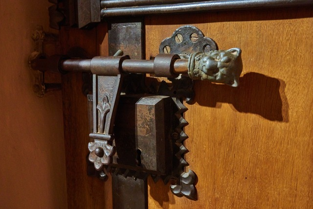 Castle door lock middle ages, industry craft.