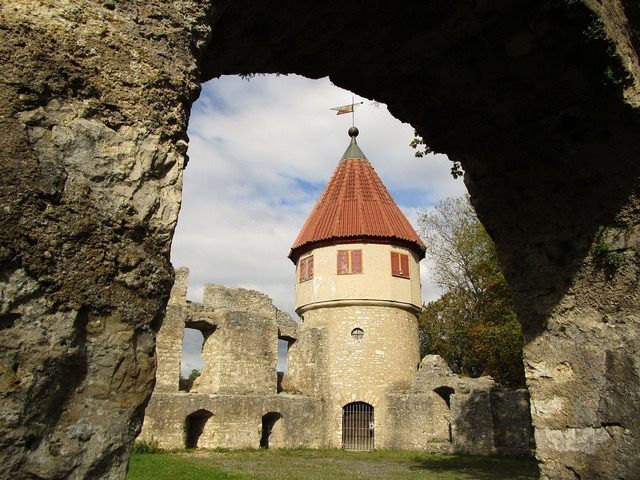 Castle fortress defensive tower, architecture buildings.