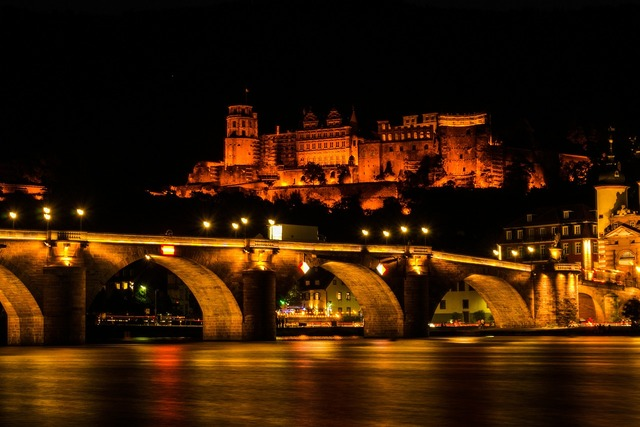 Castle heidelberg lighting, architecture buildings.