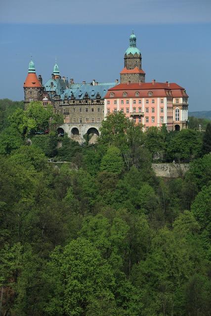 Castle książ castle poland, architecture buildings.