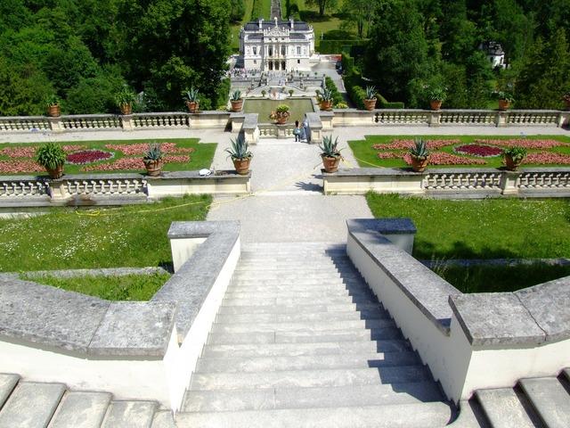 Castle linderhof palace garden, architecture buildings.