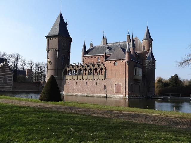 Castle outdoor place pond, architecture buildings.