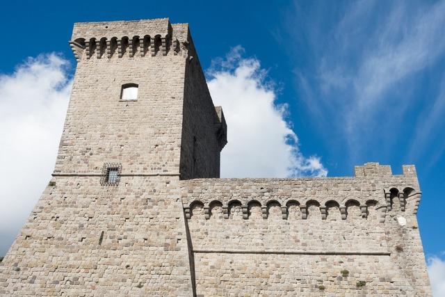 Castle parapet defense, architecture buildings.