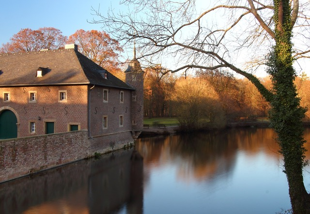 Castle pond moat, architecture buildings.