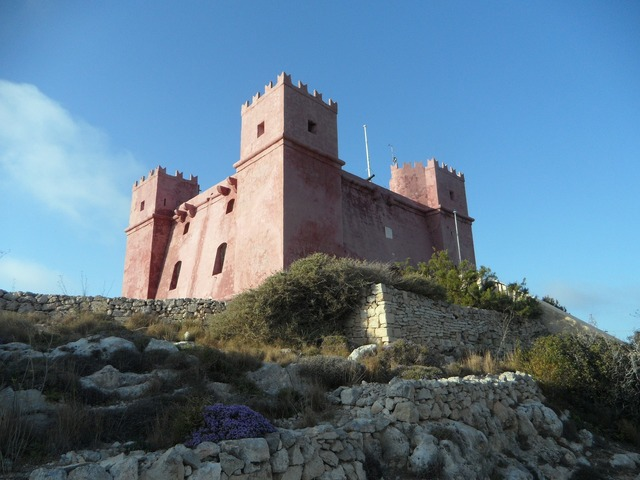Castle red tower exposed.