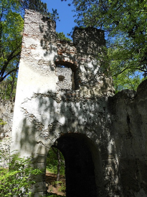 Castle tower ruin.