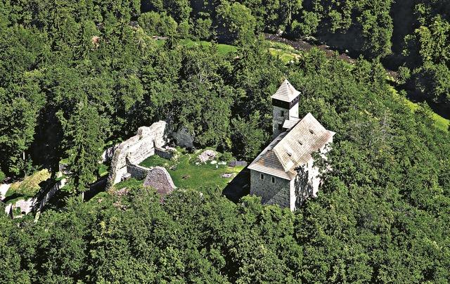 Castle village litice aerial view.