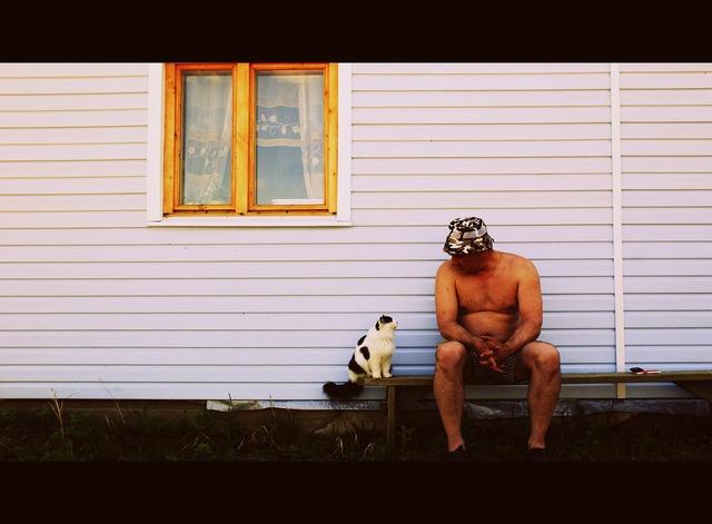 Cat man outdoors, animals.