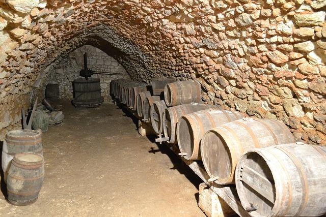 Cave barrel wine press.