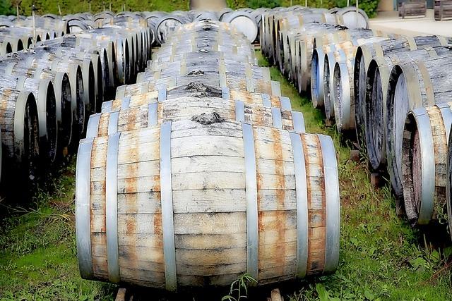 Cave wine barrels.