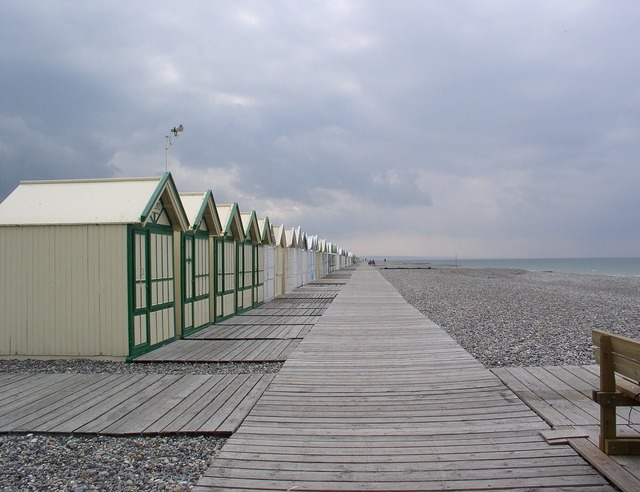 Cayeux on sea beach pebble, travel vacation.