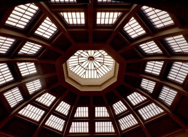 Ceiling dome windows, architecture buildings.