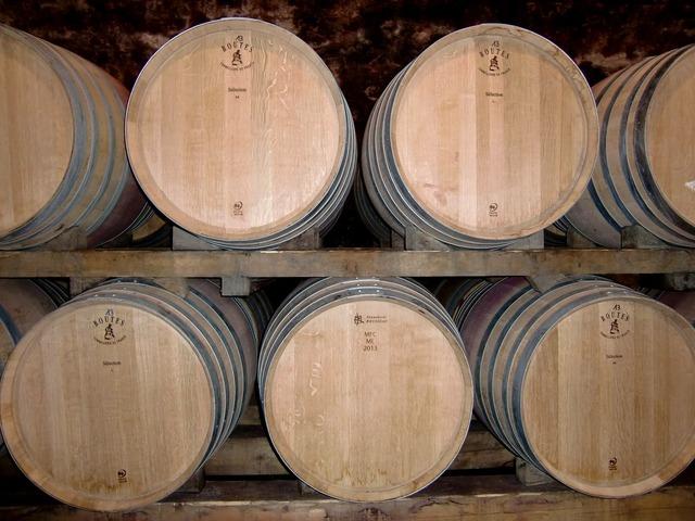 Cellar wine barrels barrels.