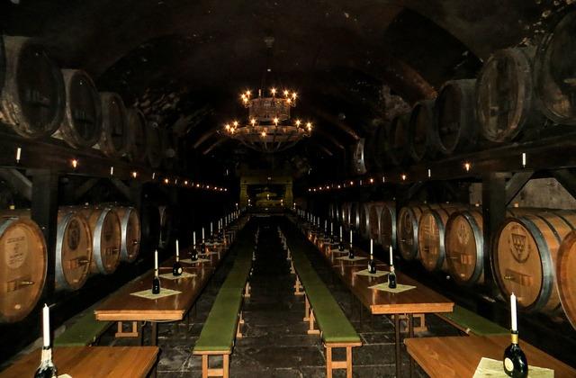 Cellar wine wine barrels.