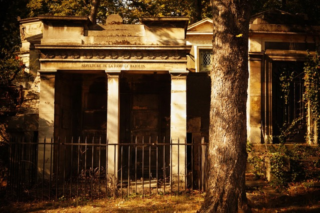 Cemetery grave mausoleum.