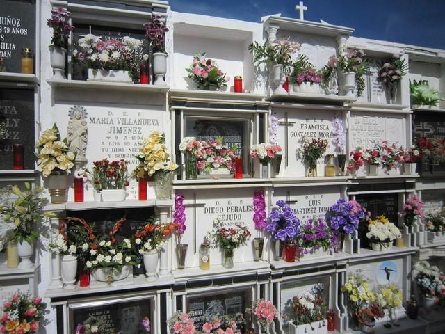 Cemetery urns spain.